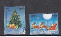 INDIA. 2016, Seasons Greetings, Christmas Tree, Santa Claus, Snowman, Set 2 V,  MNH, (**) - India
