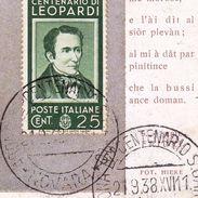 Carte Postale Arona Novara Italie Centenario Di Leopardi 1938 Amsterdam Pays Bas - Italy
