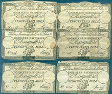 FRANCE  6 ASSIGNATS DE 25 SOLS 1792 (N° De Séries Différents ) Bien. - Assignats