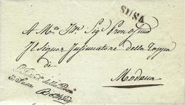 """1835  - Lettre De SUSA Franchise """" L'Intend.te Della Prov. De Susa  Pour Modane  ( Duché De Savoie ) - ...-1850 Préphilatélie"""
