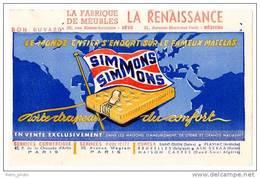 Buvard Fabrique De Meubles La Renaissance, Matelas Simmons ( Sète / Béziers ) - Buvards, Protège-cahiers Illustrés
