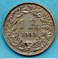 C35/ SUISSE / SWITZERLAND  1 FRANC  1952  Silver / Argent - Switzerland