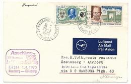 FRANCE - Enveloppe - Premier Vol HAMBOURG => GÖTEBORG / LH 214 Lufthansa - 1970 - Poste Aérienne