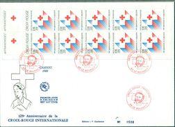 FRANCE Bande Carnet CROIX ROUGE 1988 Sur Fdc + Carte Idem Avec Le Tp Les 2 Oblit Spéciale Rouge LE BOURGET TB. - FDC