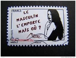 OBLITERE FRANCE ANNEE 2011 N° 545 SERIE FEMME DE L'ETRE DE MISS TIC LE MASCULIN L'EMPORTE MAIS OU ? AUTOCOLLANT ADHESIF - France