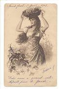17891 - Elégante Femme Avec Panier De Raisins Sur La Tête Envoyée 1902 - Femmes