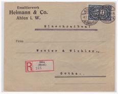 Dt- Reich (004834) Firmeneinschreiben Heimann & Co Emailierwerk, Ahlen, MIF Gelaufen Von Ahlen Nach Gotha Am 8.2.1923 - Cartas