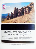 Landscape Rocks Mountains Phone Card From KYRGYZSTAN 20un. Alcatel Magnetic Kramds Bank Aeropag - Kyrgyzstan