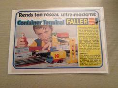 FALLER HO TRAIN ELECTRIQUE CONTAINER TERMINAL  -  Pour  Collectionneurs ... PUBLICITE  Page De Revue Des Années 70 Plast - Scenery