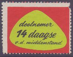 BELGIUM: Vignette/Cinderella – Without Glue:  §@§ Deelnemer 14 Daagse V. D. Middenstand §@§ - Cachets Généralité