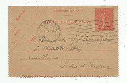 Carte Lettre , Entier Postal , 50 C , PARIS 112 , 1929 - Entiers Postaux