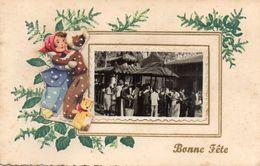 CARTE  VIET - NAM  -  Bonne  Fete  Avec Une Photo  - Saigon ? - Carte 2 Volets écrite à SAIGON Le 27 Janvier 1955 - Saisons & Fêtes