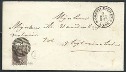 Envel  Affr 10c Brun  Distribution 43 *OOSTVLETEREN*/1863 + Boîte Rurale L Pour Ghyverinchove - 1863-1864 Médaillons (13/16)
