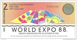 Australia - World Expo 1988 - 2 Dollars 1988 - Unc - Australië