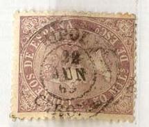 Año 1868   Edifil 98 50m  Sello Isabel II Matasellos Ripoll Gerona - 1850-68 Königreich: Isabella II.