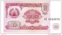 Tajikistan - Pick 3 - 10 Rubles 1994 - Unc - Tajikistan