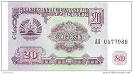 Tajikistan - Pick 4 - 20 Rubles 1994 - Unc - Tadjikistan