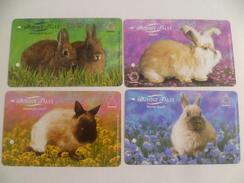 VINTAGE ! 4 Pcs. Singapore MRT Metro Train Card Ticket -  Bunny / Rabbit Tales   (L166) - Tickets