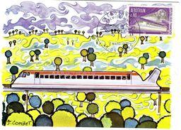 France  -  L'Aèrotrain  -  Maxi Carte - FDC - Trains