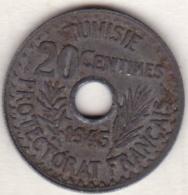 TUNISIE .PROTECTORAT FRANCAIS .20 CENTIMES 1945 .ZINC - Tunisia