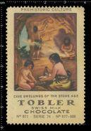 Swiss Poster Stamp, Reklamemarke, Vignette, Tobler, Chocolate, Prehistory, Vorgeschichte, Cave Men, Höhlenmensch - Préhistoire