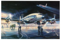 Lockheed Starliner L1649A, Paris-Orly  -  1958   -  Art Carte Par Benjamin Freudenthal - 1946-....: Moderne