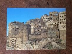 Yémen Al Hajarah Curieux Bâtiment Construction Dans La Roche Pierres Cailloux Architecture - Yemen