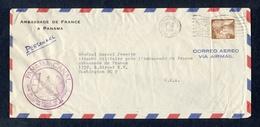 PANAMA  ( CANAL ZONE ) Lettre De L'ambassade De France  Vers L'Attaché Militaire à Washington 1956. - Panama
