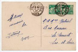 - FRANCE - Carte Postale VILLARDS-D'HERIA Pour LE CREUSOT 12.1.1949 - Paire 4 F. émeraude Marianne De Gandon - - 1945-54 Marianne Of Gandon
