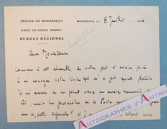 Carte Lettre Autographe 1936 MARRAKECH Affaires Indigènes - à André Armandy écrivain Et Voyageur - L.A.S MAROC Aguilard - Autographes