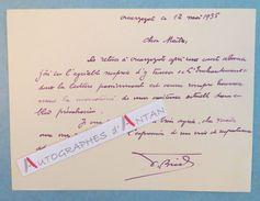 Carte Lettre Autographe 1935 OUARZAZATE (Brial ? à Identifier) - à André Armandy écrivain Voyageur L.A.S MAROC Aguilard - Autographes