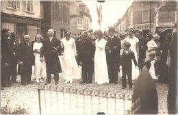 Dépt 27 - SAINT-ANDRÉ-DE-L'EURE (rue Chanoine Boulogne) - CARTE-PHOTO Visite Officielle - (à Gauche Charcuterie L. NEZ) - Autres Communes