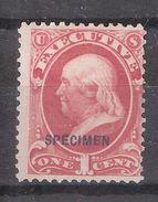 USA / Etats Unis,US SERVICE EXECUTIVE / Executif 1873,1 C Carmine YT 77 / Scott 010 S,neuf (*) VARIETY Big E SPECIMEN,TB - Officials