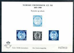 NORVEGE - Feuillet Souvenir émis Pour Le 125ème Anniversaire Du Timbre Norvégien - Blocks & Sheetlets