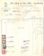 FATTURA Con Marche Da Bollo Originale LUCA & DAL CIN Officina - Pordenone - Italia