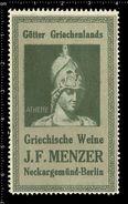 German Poster Stamp, Reklamemarke, Vignette, Götter Griechenlands, Gods Of Greece, Greek Wines, Athene - Cinderellas