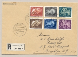 Luxembourg - 1954 - Caritas Set On R-cover To Brooklyn / USA - Luxembourg
