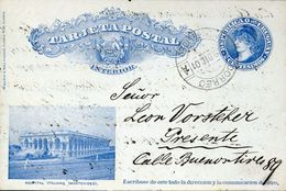 27932 Uruguay,stationery Card Circuled 1901 Showing The Italian Hospital Of Montevideo, Hospital Italiano - Primo Soccorso