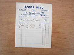 F   619   POSTE BLEU    CH  BACHELIER  32 BD A.FRANCE  86000 POITIERS   HUILES  ESSECE - Transports
