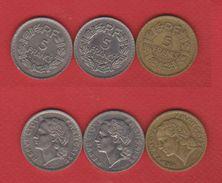 Lot De 5 Francs : 1933 - 1935 - 1946 - France