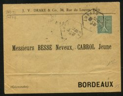 PARIS: Enveloppe Avec 15c Type Semeuse Perforé JVD  : J.V.DRAKE Rue Du Louvre PARIS - Perforés