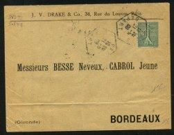 PARIS: Enveloppe Avec 15c Type Semeuse Perforé JVD  : J.V.DRAKE Rue Du Louvre PARIS - France