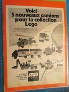 5 NOUVEAUX CAMIONS POUR TA COLLECTION LEGO  -  Pour  Collectionneurs ... PUBLICITE  Page De Revue Des Années 70 Plastifi - Catalogs