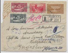 1940 - LIBAN - RARE ENVELOPPE ENTIER POSTAL RECOMMANDEE Avec AR De BEYROUTH => BELGRADE (YOUGOSLAVIE) - Liban