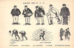 SCENES DES P.T.T. LES FACTEURS-LE BRIGADIER, LETTRES, IMPRIMES, LE RURAL,LE GARDIEN DE BUREAU DE L'ILLUSTRATEUR D. MORER - Postal Services