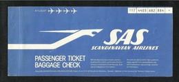 Scandinavian  Airline  Transport Ticket Used  Passenger Ticket 3 Scan - Transportation Tickets