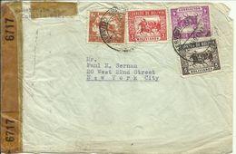 1943  Censored Letter (wrinkled)  To New York City - Bolivie