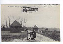 CPA Le Premier Voyage En Aéroplane 1908 Farman Près De Prunay Les Enfants L'aperçoivent N° 10 - Aviateurs