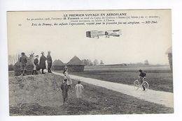CPA Le Premier Voyage En Aéroplane 1908 Farman Près De Prunay Les Enfants L'aperçoivent N° 11 - Aviateurs