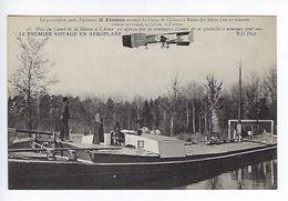 CPA Le Premier Voyage En Aéroplane 1908 Farman Près Du Canal De La Marne à L'Aisne N° 18 - Aviateurs